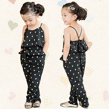 Summer Baby Girl Kids Fashion Lovely Heart Cotton Hammock Jumpsuits + Belt Set(China)