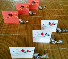 Promotion Sale 10pcs/lot Party Favors Love Bird Card Holder Favors with Brushed Silver Finish Chopstick Holders(China)
