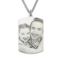 Sterling Silver Engraved Photo Dog Tag Memorial Jewelry Men Gift Pictutre Necklace Photo Dog Tag Father's Day Gift