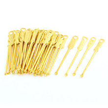 UXCELL Chinese Characters Earpick Ear Curette Earwax Cleaner Tool Gold Tone 40 Pcs
