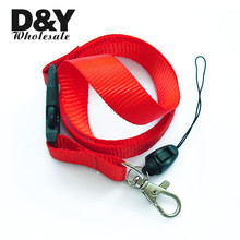 Red Solid Color Lanyard Keychain Necklace Mobile Cell Phone Holder ID Badge Holder Neck Straps 12pcs/lot Wholesale Free Shipping(China)