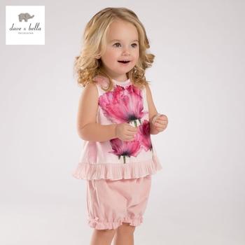 Db3452 dave bella verão flor meninas do bebê impresso conjuntos de vestuário infantil plissado rosa set roupas infantis crianças conjuntos fantasias de bebê