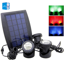 [DBF]RGB/White Outdoor Solar Power LED Lights with 3 Bulbs Submarine Spotlight for Garden Pool Pond Lamp Underwater Lights
