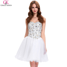 Grace Karin Cocktail Dresses Organza Strapless White Semi Formal Dresses Black Party Ball Gowns Beads Knee Length Cocktail Dress