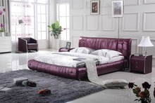 European king size genuine leather bed 0414-817(China)