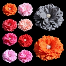 10pcs/lot 11CM 20colors Hair Clip Chic Peony Flower With Pearl Button For Hair Accessories Artificial Fabric Flower For Headband(China)