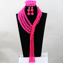 Beautiful Jewels Rose Pink Crystal African Fashion Jewelry Set Beaded Indian Bridal Jewelry Set 2017  Free Shipping WD009