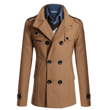 Hot Sale Trench Coat Men Double Breasted British Style Cashmere Mens Trench Coats High Quality Woolen Jacket Long Overcoat Male