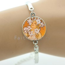 Fashion artwork jewelry exquisite Alphonse Mucha painting bracelets sweet elegant women charms Tree of Life girls gift NS389