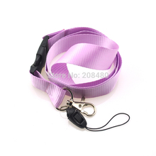 "Fashion Solid ""Purple"" Color Squishy Lanyard Keychain Necklace Cell Phone Holder ID badge holder neck straps 12pc/lot Wholesale(China)"