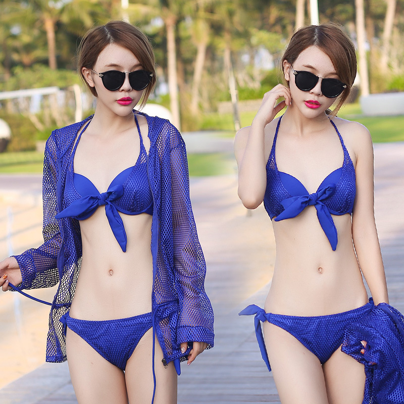 Sexy Women Bow Swimwears Mesh Bathing Suit Charming Maillot De Bain Femme Push Up Padded Lady Swimsuit Three-pieces Bikinis Set<br><br>Aliexpress