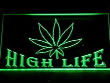 403 Hemp Leaf High Life Bar LED Neon Sign with On/Off Switch 7 Colors to choose