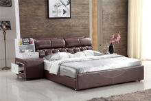 storage modern top grain genuine leather bed dark color 0414-810(China)