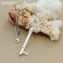 Authentic 925 Sterling Silver key Pendant Necklaces For Women Female Fashion Necklace Woman