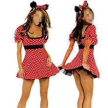 2016 Red Minnie Mouse Dress Adult Halloween Costumes for Women Minnie Mouse Costume Cosplay Sexy Fantasy Women Wholesale