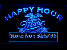 613 Miller Beer Happy Hour Bar Pub LED Neon Light Sign Wholesale Dropshipping On/ Off Switch 7 colors DHL