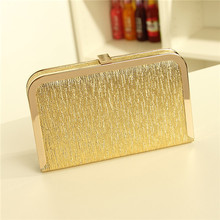 Free Shipping 2017 Luxury fashion trend metallic mini clutch evening bag ladies handbag shoulder bag purse wallet chain HBF10