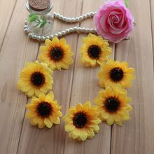 Hoomall 50PCs Sunflower Artificial Flowers For Home Party Decoration Scrapbooking Accessories Wreath DIY Head Fake Flowers