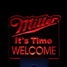 ws0234 Miller Time Welcome Beer Day/ Night Sensor Led Night Light Sign