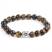 Antique Silver Plated Buddha Bracelet Tiger Eye Lava Natural Stone Bracelet Bangle Women Men Jewelry Pulseras 2016