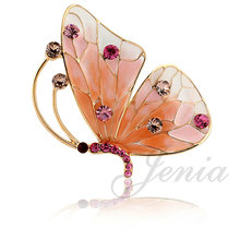 Jenia Elegant Pattern Gold Color Stellux Austrian Crystal Butterfly Brooch Pins for Women Multicolor XZ034