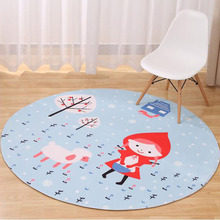 Cute Cartoon Thick Mat Animal Round Carpets Fox&Little Red Riding Hood Baby Game Mats Kids Room Carpet Crawling Rugs Living Room