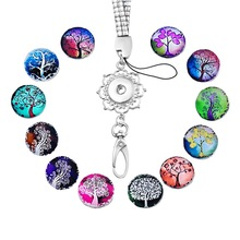 FUNIQUE 12 PCs Mixed Tree Life Snap Buttons Glass Cameo 1 Set  With Rope Chain Pendant Necklaces Snap Buttons DIY Jewelry 1 Set