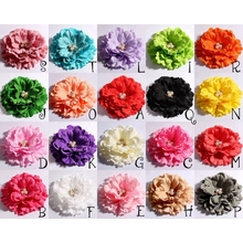 120pcs/lot 11cm 20colors Hair Clips Peony Flowers With Pearl Buttons For Girls Hair Accessories Fabric Flowers For Headbands DIY(China)