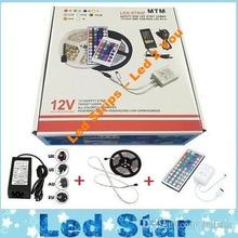 5050 led strip waterproof 60LEDs/m 5m 300LEDs RGB 12V Led Lights + 44keys Remote Control + Power Supply + Fine Retail Package(China)