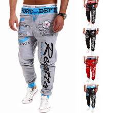 Mens Sport Pants New Fashion Loose Casual Pants Print Joggers European Style Cotton Gym Clothing