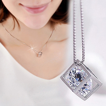 New Womens Elegant Charm Jewelry Silver Rhinestone Love Cube Pendant Necklace Without Chain Lovers Gift