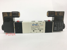 "Pnematic Airtac Solenoid Valve 5/3 5 Way 3 Position 1/4"" BSP 4V230C-08 Double Coil Center Closed LED Light 12v 24v 110v 220v(China)"