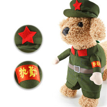 S/M/L Cats Dogs Clothes Chinese Red Army Cosplay Costume Dog Clothing Pet Festival Party Performance Creative Gift Free Shipping