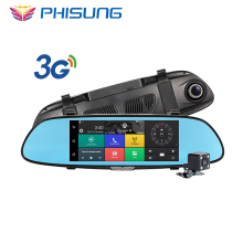 3G Car Camera 7inch Touch Android 5.0 GPS dvr car video recorder Bluetooth WIFI FM Dual Lens rearview mirror Dash cam car dvrs