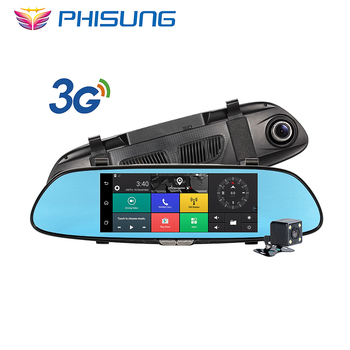 3G Car Camera 7inch IPS Android 5.0 GPS car video recorder Bluetooth Dual Lens rearview mirror Dash cam car dvrs