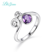 l&zuan Amethyst S925 Silver Rings For Women Trendy Prong Setting 0.99ct Round Purple gemstone Wedding Fine Jewelry(China)