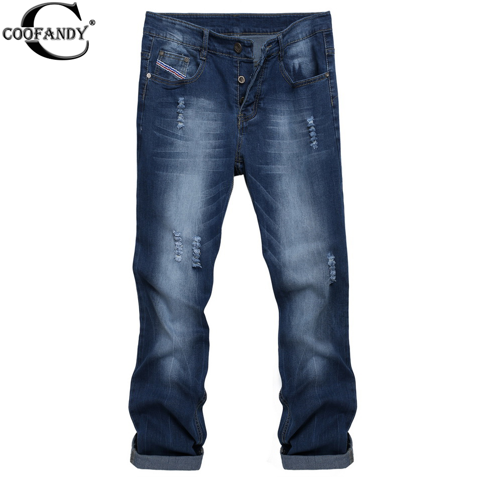 COOFANDY Mens Casual Denim Jeans Frayed Slim Ripped Pants Long Casual Durable Jeans Washed Dark Blue Îäåæäà è àêñåññóàðû<br><br>