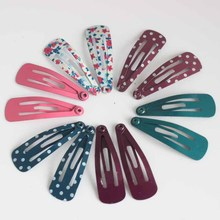 12pcs/lot 3cm children Printing floral and dot Hairpin Hair Clips headwear girls Cute Lovely solid Barrette Hair Accessaries