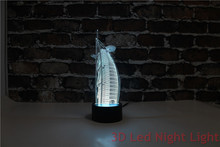 Burj Al Arab Hotel Souvenir 3D Led BedRoom Night Lighting with FCC and UL Certificate YJM-2908 free shipping