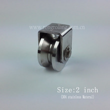2inch sliding gate stainless steel pulley groove V with 2pcs 6000RS bearings(China)