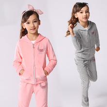 Velvet Sports Suits For Girls Clothing Sets Cotton Kids Clothes Spring Autumn Sportswear Causal Children's Tracksuits 4-14 Years