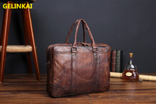 GELINKAI Men leather Laptop bag Handbag brown