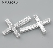"MJARTORIA 20PCs Silver Color Clear Rhinestone Cross Connectors 36x25mm(1 3/8""x1"") DIY Accessories For Jewelry Cross Pendants(China)"