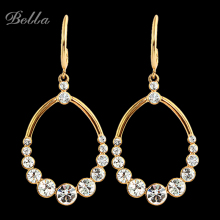 2015 crystal Double material jewelry gold -color drop earrings beautiful aura of an angel Drop Earrings(E0165)