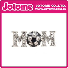 100pcs/lot Club Football Mom Letter Crystal Rhinestone Brooch Pin Fashion Women/Men Jewelry for Gift(China)