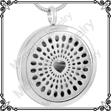 MJP0018 Wholesale Cheap Round Pendant Hollow Heart Locket Necklace Perfume Essential Oil Aromatherapy Diffuser