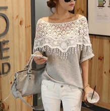 New Brand Summer  Women T Shirts Cotton Lace Stitching T Shirt Hand Crochet Shawl Lace Collar Bat Sleeve Long T-shirt Tops 6906