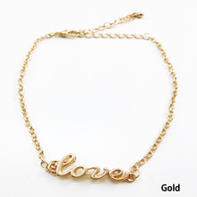 2017 Summer Fashionable Lovely Lady Anklets Accessories With The Letter Love - Color Gold Silver plated