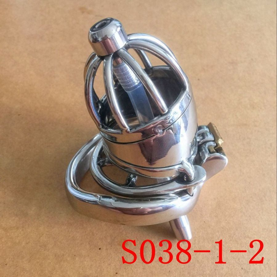 Male Chastity Belt 70mm size Stainless Steel Chastity Device Penis Restraint Cage+Anti-off card ring S038-1-2<br>