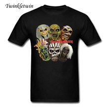 2017 Hot Sale Mens Iron Maiden T Shirt Man Rock Music Printing T Shirts O Neck Summer Trendy Short Sleeved Rock Tee Shirt Cotton(China)